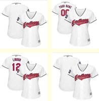 Wholesale Women Blank Tops - Women Cleveland Indians 12 Francisco Lindor Blank Customized white jerseys 2016 World Series jersey Top Baseball jerseys