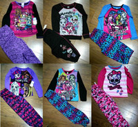 Wholesale Cm High School - New Big Girls Cartoon Winter Monster High School Sets Halloween Halloween Costume T shirt+Pants Suits Kids Pajamas Clothing