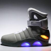 yüksek üst led ayakkabı toptan satış-Hava Mag Erkek LED Işıkları Ile Mags Erkek Ayakkabı Yüksek Top Sneakers Kutusu ile Siyah Gri