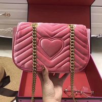Wholesale Real Letters - Marmont velvet bag women famous brand shoulder bags real leather chain crossbody bag winter fashion handbags Italian luxury women bags 2017