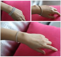 Wholesale Diamond Single Row - Korean jewelry atmospheric flash diamond color single-row multi-row diamond bracelet full of diamond elastic stretch bracelet female Wholesa
