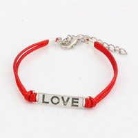 Wholesale antique bracelet love for sale - Hot New men and women fashions Red Wax lines with Antique silver Alloy quot love quot Charm Adjustable String Bracelet