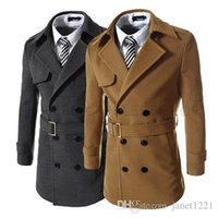 Wholesale Coat Army Fashion For Men - With Belt Woolen Mens Trench Coat Winter Wild Slim Fit Overcoat Trench For Men Double Breasted Warm Business Men Trench Coat J160914