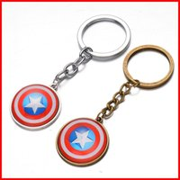 Wholesale Bags Shield - The Avengers Captain America shield keychain Time gemstone key ring keyring pendants men women bag hangs fashion jewelry 240333