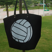 Algodão Canvas Volleyball Tote Atacado Blanks Bolsa de voleibol com PU Handle e Magnetic Snap Encerramento 5 designs s ports tote DOM106348