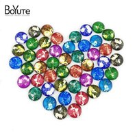 Wholesale Blank Signs - BoYuTe (48 pieces lot) 12mm Round Pattern Cabochons Mix Zodiac Kawaii Sign Image Glass Cabochon For Earring Blank Settings xl3464