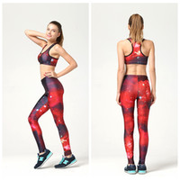 Wholesale Sexy Track Suits - Sexy Yoga Suit Fashion Sportwear Fitness Jumpsuit Athletic Track Wear 3D Digital Printing Two-piece Set Breathable Women Tracksuit LNSTZ