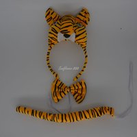 Wholesale Tiger Dress Costume - Fun Tiger Party Animal Cosplay Headband Ears Set Bow Tail Fancy Dress Costume For Kids Supplies Decor