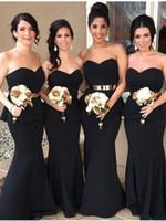ingrosso abiti di couture oro nero-Couture Cheap Country Black and Gold Abiti da damigella d'onore Sirena Peplo Chic Plus Size Prom Dresses Elegante abito da sera Maid of honor dress