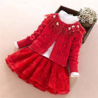 Wholesale T Shirt Yarn Wholesale - New Girls Sets Kids Clothing 2017 Autumn Long Sleeve Flower Sweater Cardigan + T-shirts Tops + Lace Net Yarn Tutu Skirt 3 pcs Suits A7413