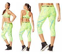 Wholesale Capri Dance Pants - S M L women bottoms dance pants Hyper Melt Metallic Capri Leggings green color yoga pants