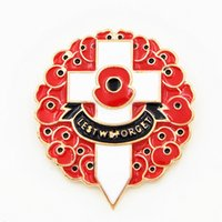 Wholesale Wedding Souvenirs China - Gold Plated Luxury Red Colored Enamelled UK Fashion Poppy Brooch The British Remembrance Days Poppy Brooch Souvenir High Quality Cross Pins