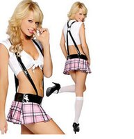 Wholesale Sexy School Girl Uniforms - Wholesale-FREE SHIPPING Sexy Women School Girl Uniform Plaid Lingerie Cosplay Costume Sex Temptation Outfits Set