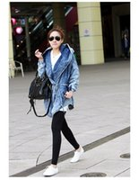 Wholesale Denim Hoodie Women - Fashion Women Lady Denim Trench Coat Hoodie Hooded Outerwear Jean Jacket Cool color black and blue TXSW 9409#