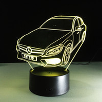 Wholesale Car Candles - 2017 Cool Car Auto 3D Optical Illusion Lamp Night Light DC 5V USB Charging AA Battery Wholesale Dropshipping Free Shipping Retail Box