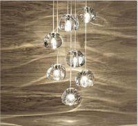 Wholesale Gold Ceiling Chandelier - Modern clear gold crystal glass sphere ball chandelier g4 mizu 3 5 7 15 26head pendant lamp Meteor Rain ceiling light stainless steel base