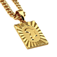 2017 Trendy New Arrival African Map Pendentif Collier Gold Hip Hop Fashion Jewelry For Women Hommes Avec 75cm Long Chain
