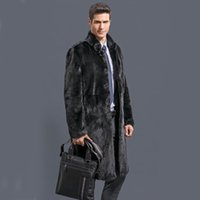 Wholesale men mink fur collar - Wholesale- 2016 new fashion Male  velvet mink overcoat outerwear Men black faux fur overcoat fur coat winter warm thicking outwear