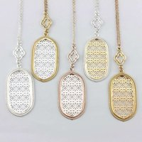 Wholesale filigree pendants - Christmas Gift Fashion Jewelry Filigree Oval Pendant Necklace for Women Long Chain Hollow Openwork Two Tone Geometric Necklaces Pendants