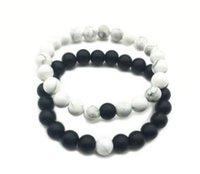Wholesale Grinding Stone Set - Natural stone grind stone white pine stone bracelet beaded 8mm one styles