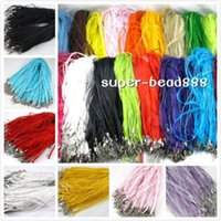 Wholesale Silk Voile Ribbon - Free 100pcs Silk Organza Voile Ribbon Cord Necklace Adjustable Lobster Clasp HOT