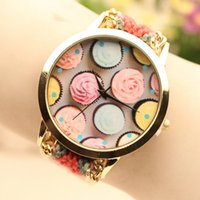 Wholesale Pin Buckle Diy - 2016 Promotion New Fashion Cream Watches Colorful Wind Weave Handmade Bracelet Watch DIY Fashion Woman Dress Wrist Watches 5 Colors