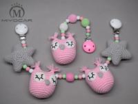 Wholesale Crochet Mobile - Wholesale- MIYOCAR handmade wood clip pink Crochet owl and star stroller toy chain for pram stroller mobile rattle wooden bead crochet