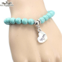 Wholesale Love Bracelets Cheap - 2016 New 8mm turquoise bead i love you dad mom love bracelets charms gift items cheap
