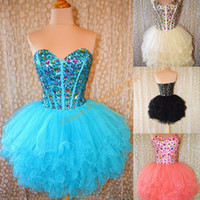 Wholesale Strapless Tulle Ballgown - 2016 Ballgown Homecoming Dresses with Lace Up Back and Tiered Skirts Real Pictures Beaded Pleated Ruffled Tulle Tutu Sweet 16 Gowns