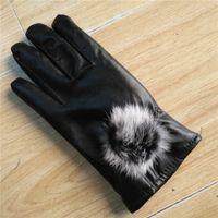 Wholesale Rex Gloves - 2017 new lady PU gloves Rex rabbit hair ball accessories warm waterproof adult ladies gloves
