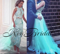 Wholesale Inside Dress - Mint Green 2018 Evening Dresses Two Pieces Overskirts Formal Prom Gowns With Lace Inside Tulle Skirt