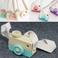 Wholesale Wholesale Baby Toy Camera - Mini Wooden Camera Toys Photography Props Hanging on Neck Anti-Static Natural Wood Baby Birthday Gift Room Decoration WX-T106