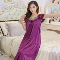 Wholesale Thin Silk Nightgown - Wholesale- Lace Nightgowns summer ice silk nightgown Ms. MM Skirt plus size fat thin clothes sexy sleepwear free shipping