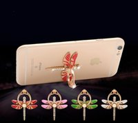 Wholesale Diamond Luxury Mobile Phone - Dragonfly Diamond Luxury 360 Degree Finger Ring Mobile Phone Holder For Magnetic Holder Smartphone Stand