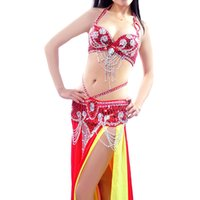 Wholesale Belly Dance White Bra - Belly Dance India Costume Professional Bra&Waist Suit Belt Belly Dancing Outfit 12Color Sex Performance Practice 34 36 38 40 B C