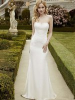 Wholesale Enzoani Sexy Wedding Dress - Sexy Sweetheart Sheath Wedding Dresses Blue By Enzoani Bridal Gowns Sweep Train Open Back Soft Satin White Wedding Gowns 2017 With Applique