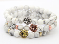 2016 New Design De qualidade superior de 8 milímetros Natural White Howlite Beads De Pedra Antique Gold, Rose Gold, Silver Owl Bracelets, Exquiste Gifts
