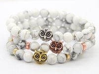 Wholesale Top Owl Bracelet - 2016 New Design Top Quality 8mm Natural White Howlite Stone Beads Antique Gold, Rose Gold, Silver Owl Bracelets, Exquiste Gifts