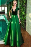 velvet images Australia - 2018 Sexy Deep V-neck Women Evening Dresses Green Satin Velvet Elegant Short Sleeve A-line Long Formal Prom Dresses Plunging Back Party Gown