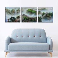 quadros chineses pintura a óleo venda por atacado-3 Peças Conjunto Clássico Chinês Paisagem Pintura A Grande Muralha Moderna Pintura A Óleo Sem Moldura Retratos Da Parede para Sala de estar