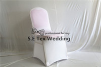 Wholesale Thick Fabric Wholesale - 20pcs Sold White Color Lycra Spandex Chair Cover Arch Or Flat Front With Strong Pocket High Thick Fabric