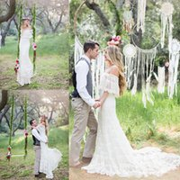 Wholesale Vintage Hand Crocheted - Vintage Crochet Lace Bohemian Country Wedding Dresses 2017 Off Shoulder Ruffles Sleeve Hippie Garden Bridal Wedding Gown Cheap