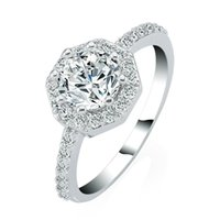 Wholesale White Gold Ring Insert - Exquisite Octagon 18k White Gold Plated Bridal Ring With Zircon Women's Fashion Environmental Micro-Inserted Jewelry christmas gift