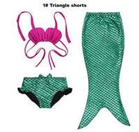 Wholesale Carton Set Girl - Girl mermaid tail bikini swimwear Kids cosplay swimsuits Children mermaid tails swimming sets Beach mermaid dresses Carton suits #Y0