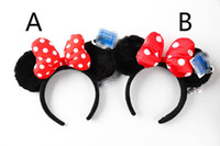 Wholesale Minnie Mouse Halloween Costumes - Mickey Minnie Mouse Costume Ears Dots Bow Hair Band Party Headband Thanksgiving Christmas Halloween