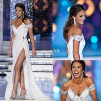 kleid welt großhandel-Weiß Miss World 2019 Pageant Abendkleider aus der Schulter Weiß Ganzkörperansicht Perlen Backless Sexy High Split Günstige Long Prom Party Dress
