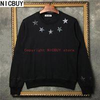 Wholesale Giv Hoodie - 2017 autumn designer brand tag clothing men long sleeve giv pu leather 3D black star print hoodies kanye west sweatshirt Moleton Masculino