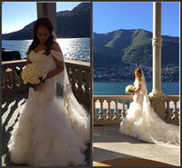 Wholesale Casual Off White Wedding Dresses - 2016 Newest Vintage Mermaid Off Shooulder Tulle Beach Casual Wedding Dresses Full Beading Tulle Crystal Bridal Wedding Gowns