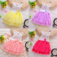 Wholesale pink plaid lolita dress - New Summer Toddler Baby Kids Girls Princess Party Tutu Lace Bow Flower Dresses 4 P L