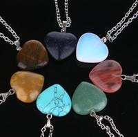 ingrosso collana del mare di cuore-Cuore forma 7 Chakra naturale vera pietra mare opale rosa ciondolo al quarzo collane donne uomini collana di pietra di San Valentino pendenti
